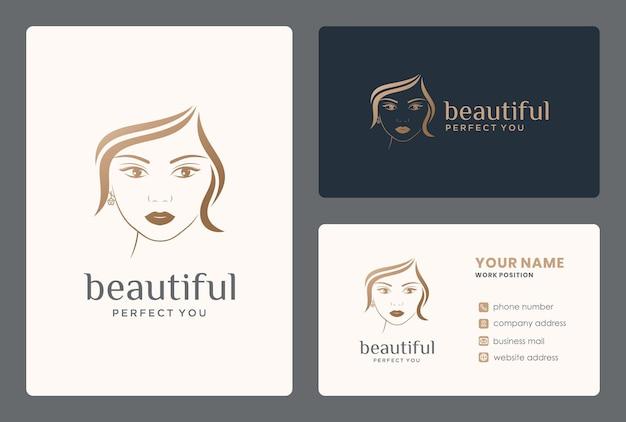메이크업, 살롱, 화장, 미용사, 뷰티 케어를 위한 헤어 뷰티 여성 로고 디자인.