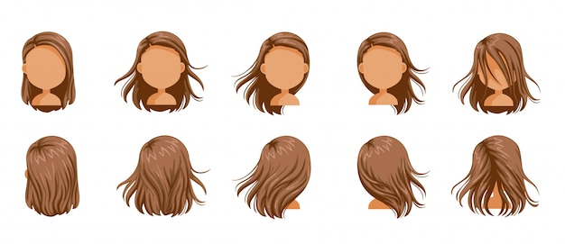 Hair blown women set. little girl hair blown set. long hair blown of female.