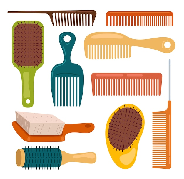 Hair brushes comb isolated on white background set
