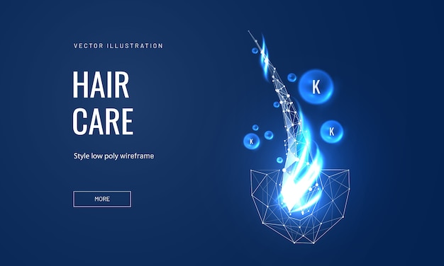 Hair care keratin or serum concept in polygonal futuristic style for landing page