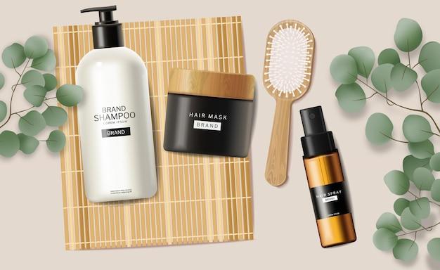Hair care set cosmetics realistic