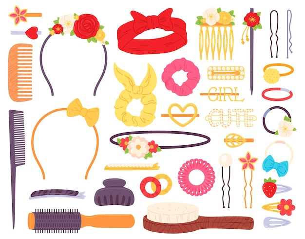 Заколки с цветами и жемчугом, ободок-бантик и заколки. бижутерия, аксессуар для прически. заколки, булавки и гребни векторный набор