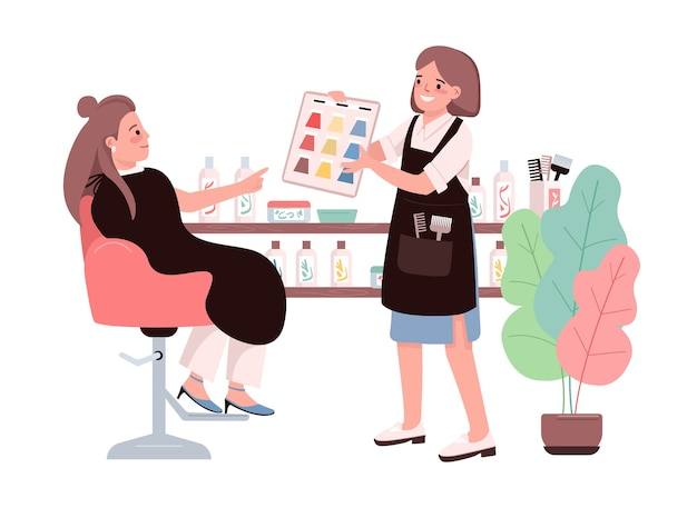 Hair coloring flat color characters. young woman choosing hair dye. getting coloration from hairdresser. professional hairstylist. beauty salon procedure isolated cartoon illustration