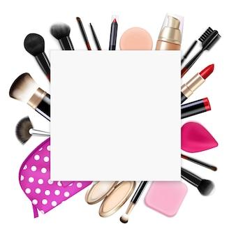化粧品バッグの中身の上に空の正方形のフレームでリアルな髪の色の構成はアイライナーを磨きます
