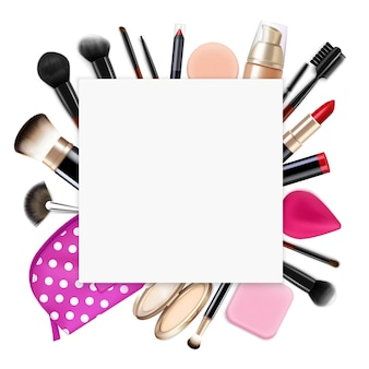Hair coloring realistic composition with empty square frame on top of cosmetics bag contents brushes eyeliners