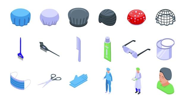 ヘアカバーセット。白い背景で隔離のウェブデザインのヘアカバーの等尺性セット