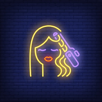 Hair curler curling woman hair neon sign