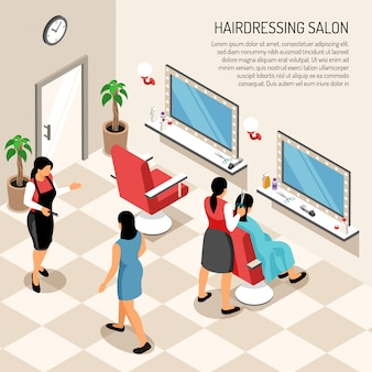 Hair dressing salon in beige color with stylists clients professional equipment and interior objects  isometric