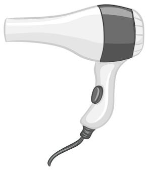 Asciugacapelli in stile cartone animato isolato su sfondo bianco