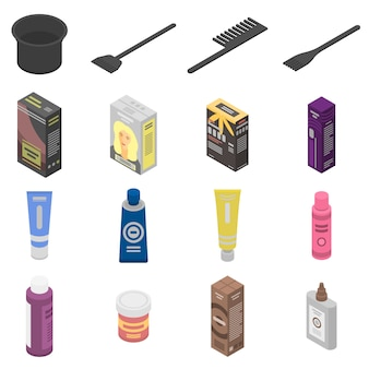 Hair dye icons set, isometric style