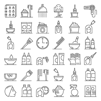 Hair dye icons set, outline style