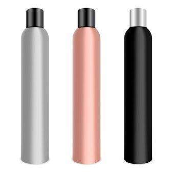 Hair lacquer cosmetics bottle set. metal bottles