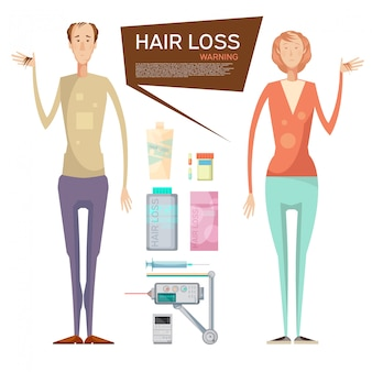 Hair loss conceptual composition