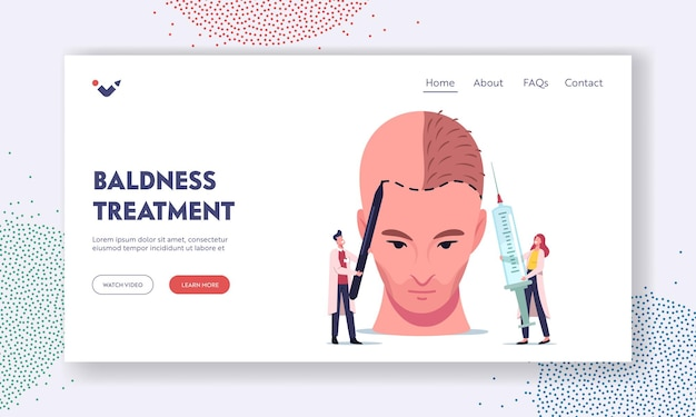 Hair loss and receding landing page template. tiny doctor characters prepare huge male head for hair transplantation painting markup lines and make injections. cartoon people vector illustration