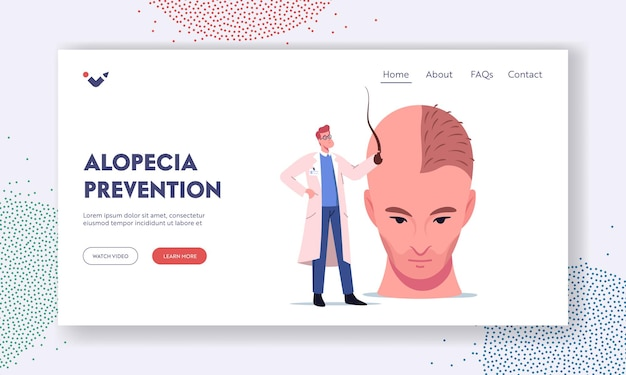 Hair loss and receding man health problem landing page template. tiny doctor character holding follicle prepare huge male head for hair transplantation procedure. cartoon people vector illustration