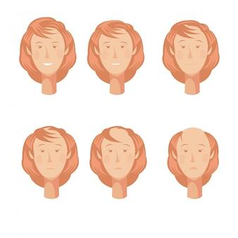 Composizione dello storyboard della perdita di capelli