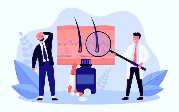 Hair loss treatment flat vector illustration. bald man and doctor with giant magnifying glass, examining roots of hair, standing next to huge pills. medicine, trichology, hair care concept for design