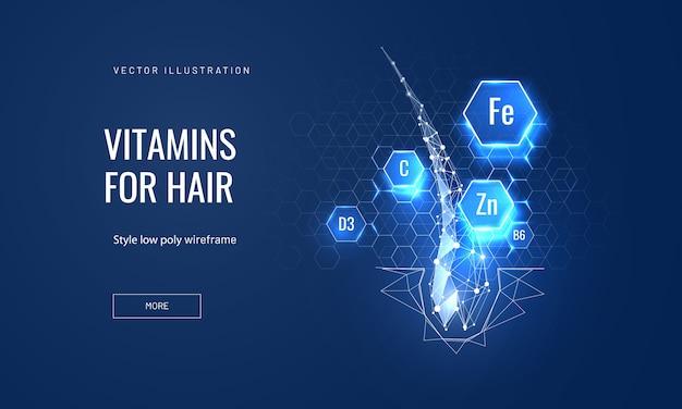 Питание волос с концепцией витаминов в многоугольном футуристическом стиле для целевой страницы