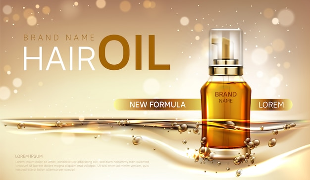 Hair oil cosmetics bottle ad vector banner