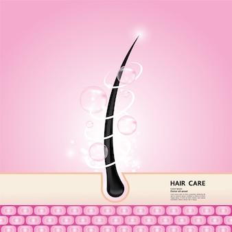 Иллюстрация технологии защиты и ухода за волосами.