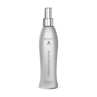 Hair protection spray cosmetic bottle mockup.