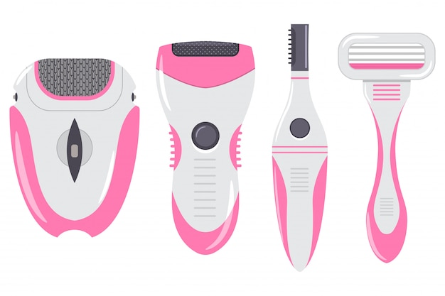 Hair removal equipment for women vector cartoon set isolated on white background.