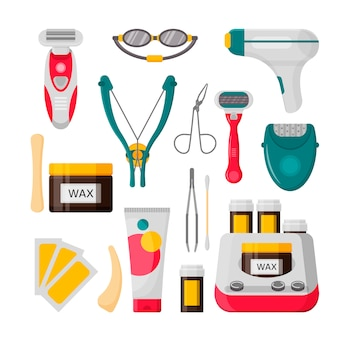 Hair removal icon set. vector illustration of laser, epilator, depilatory cream, wax strips, bottle of wax, shaving razor, eyebrow tweezers, scissors
