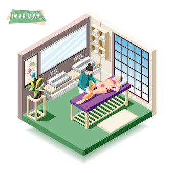 Hair removal isometric composition with woman doing sugaring in beauty salon 3d