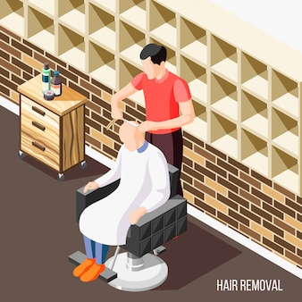Hair removal isometric  with man having his head shaved in salon 3d