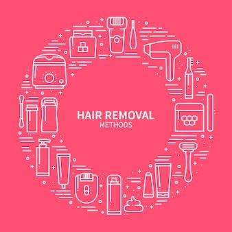 Hair removal methods concept.
