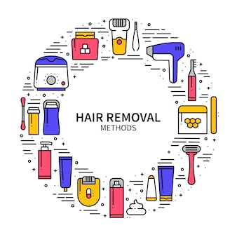 Hair removal methods concept