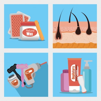 Hair removal product set