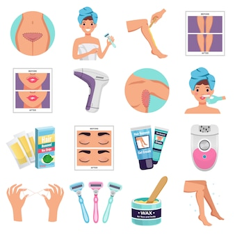Hair removal set with wax and epilator flat isolated vector illustration