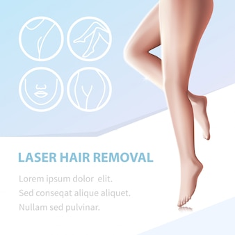 Hair removal smooth legs epilated with laser tool