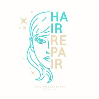 모발 수리. 이발소의 밝은 포스터. 머리카락을 자르고 스타일링하는 요소. 삽화.