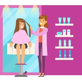 Hair salon or barbershop interior. colorful cartoon character  illustration