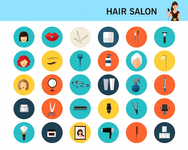 Hair salon concept flat icons.