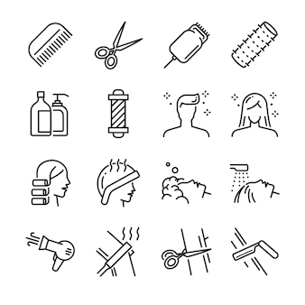 Hair salon icon set.