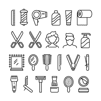 Hair salon icons. beautiful hairstyle and haircut vector line symbols