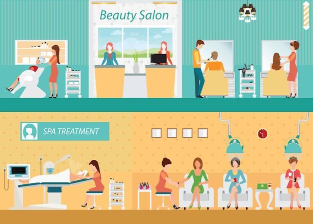 Hair salon interior building with customer
