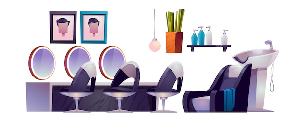 Hair salon interior with hairdresser chairs, mirrors, sink and cosmetics
