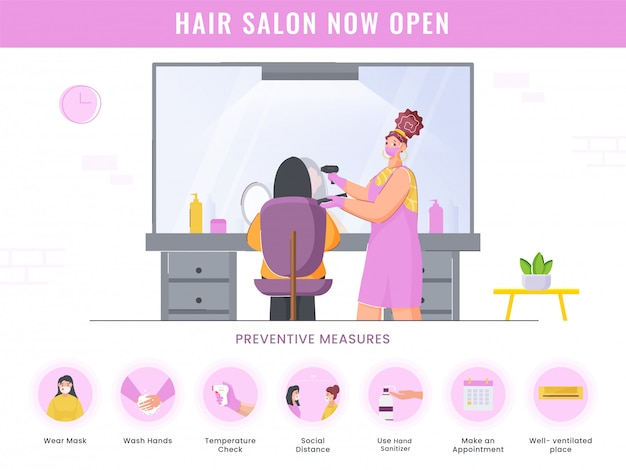 Hair salon now open poster  with preventive measures details on white background for advertising.