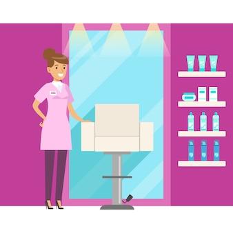 Парикмахерская или салон для парикмахерских. красочный мультипликационный персонаж иллюстрация