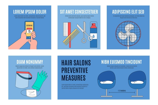Hair salons preventive measures concept