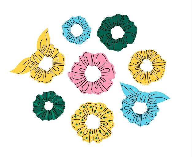 Hair scrunchies doodle girls hair accessory cartoon vector symbolsset