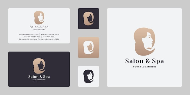 Прическа, салон красоты женщина и спа дизайн логотипа вектор