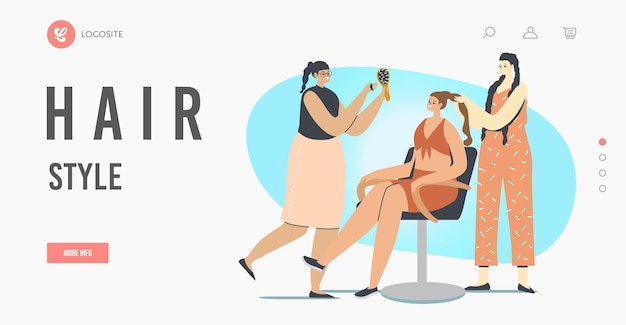 헤어 스타일 방문 페이지 템플릿. 미용실을 방문하는 여성 캐릭터. 마스터는 여성 패션 클럽의 의자에 앉아 있는 소녀 클라이언트를 위한 땋기 헤어스타일을 합니다. 만화 사람들 벡터 일러스트 레이 션