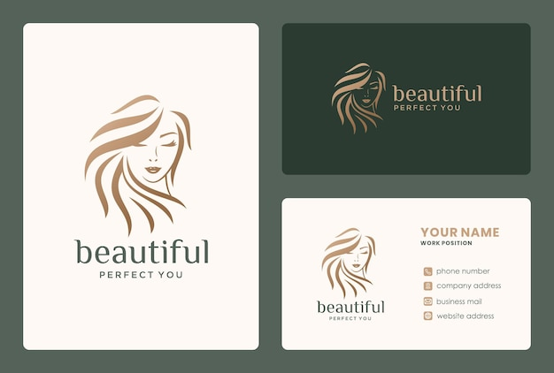 미용사, 미용실, 화장, 신부 화장을 위한 미인 로고 디자인의 헤어 스타일.