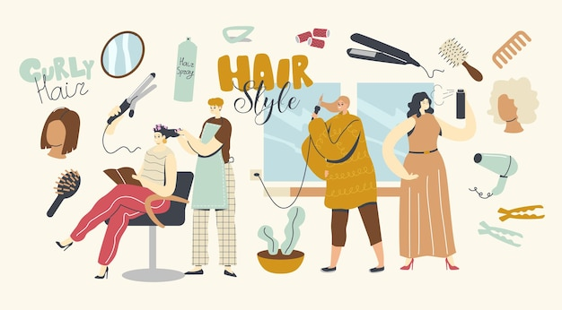 Hair styling concept. female characters visiting beauty salon, make hairstyle at home. young woman master front mirror put curlers on client head in grooming place. linear people vector illustration