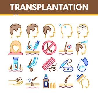 Hair transplantation collection icons set